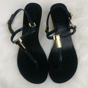 Tory Burch Shoes - Tory Burch PAULINE Wedge Sandals Black Leather
